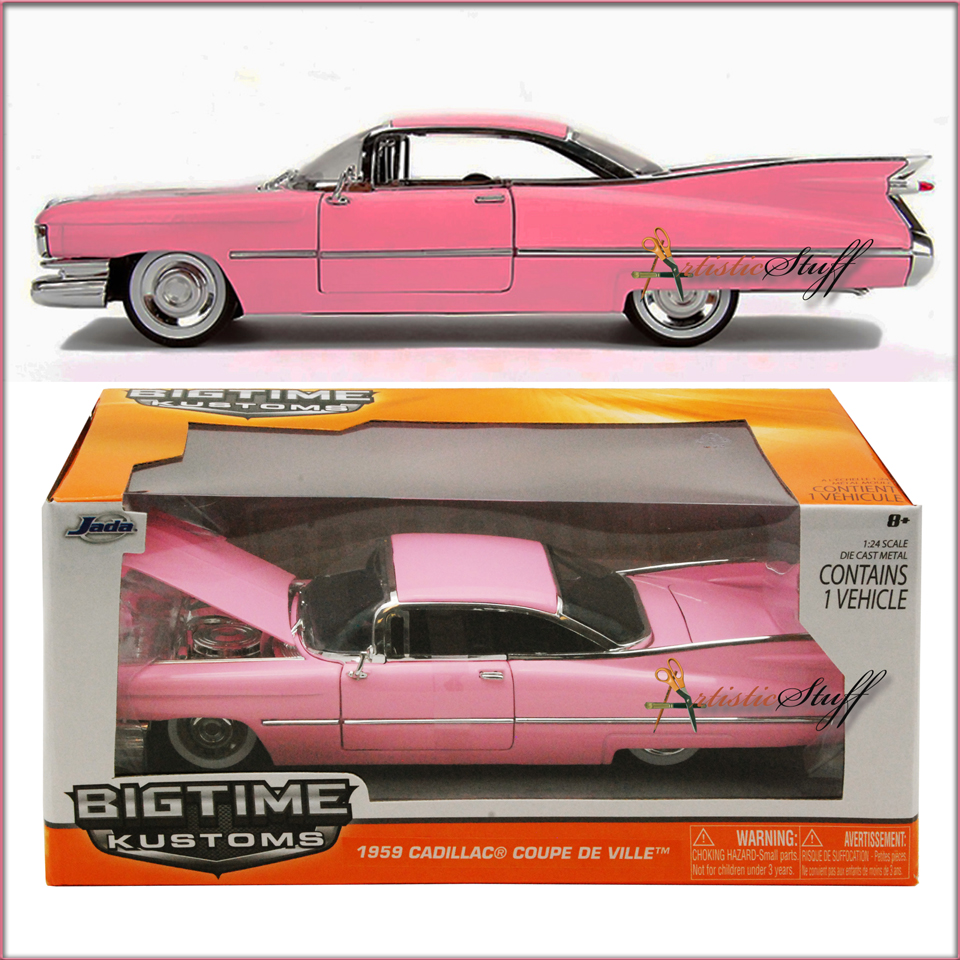 1959 CADILLAC COUPE DEVILLE PINK 1//24 DIECAST MODEL CAR BY JADA 96801